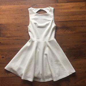 Lulu's White Dress Cutout Back Skater Skirt